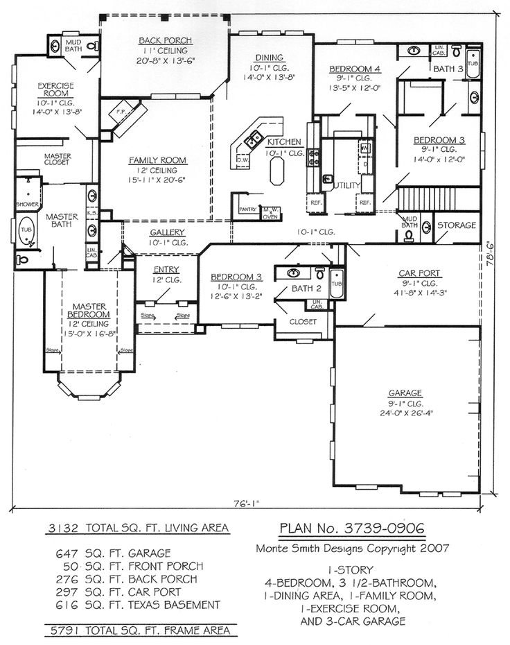 1 Story 4 Bedroom 3 5 Bathroom 1 Dining Room 1 Family Room Living Room 1 Exercise Area And 3 Car Garage House Plan Search House Plans New House Plans