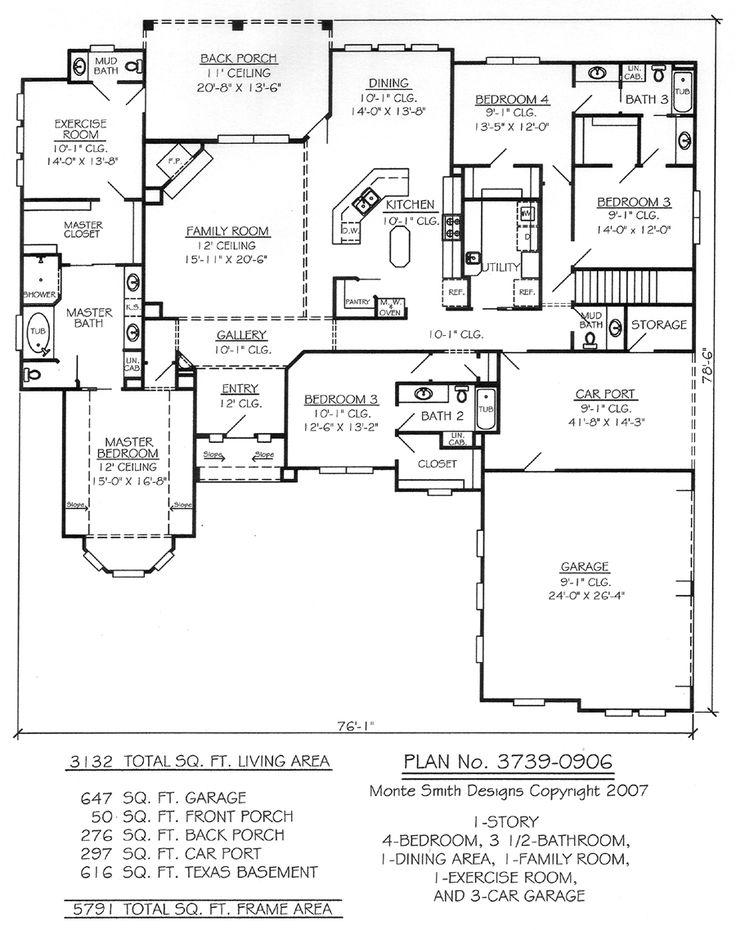 1 story 4 bedroom 3 5 bathroom 1 dining room 1 family - 4 bedroom 3 car garage house plans ...