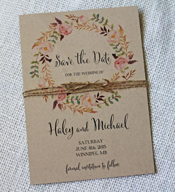 Rustic Boho Chic Wedding Save the Date, Save the date card, Kraft Card, Save our Date, Floral, Watercolour, Rustic, Vintage, Kraft – Liesenblümchen