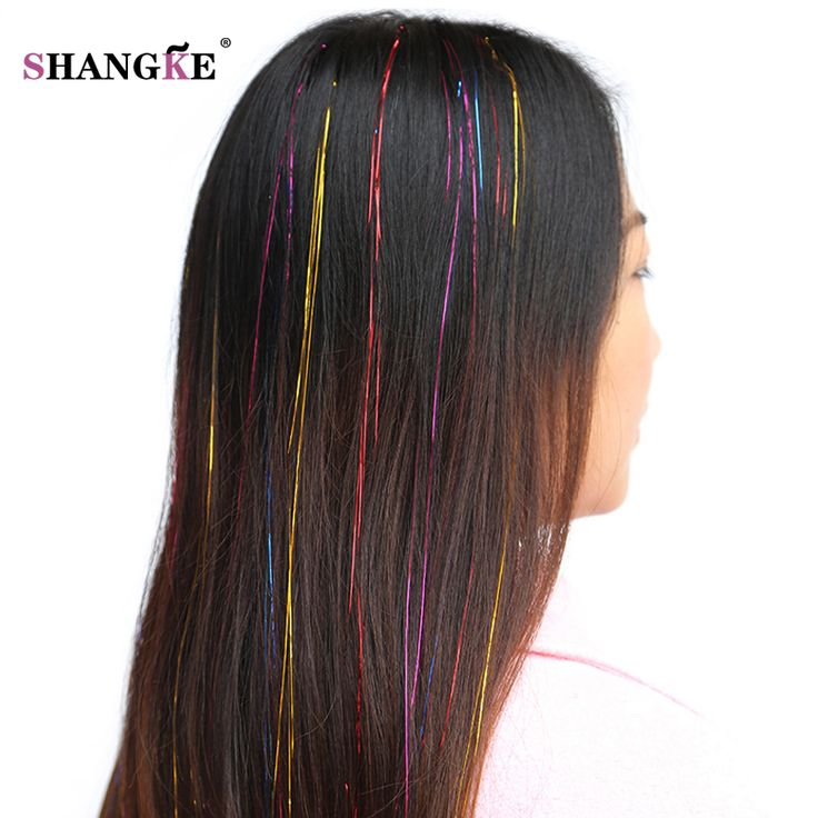 SHANGKE Long Straight Colored Hair Extensions Synthetic High Temperature Fiber Hair Pieces Flip In Hair Extensions Women Hairsty