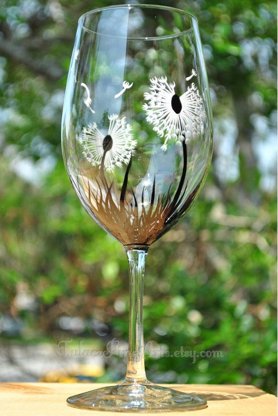 Hand Painted Dandelion Wine Glasses by TulaczFineArts, $28.00 dandelion seeds, summer glasses, black and white, flower wine glass