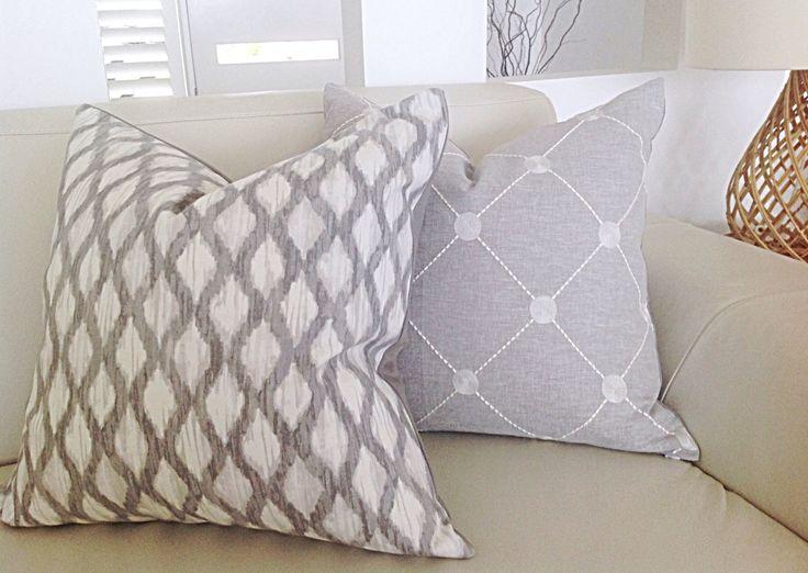 Grey Linen Cushions, Pillows Trellis Cushion Cover, Grey Cushion Cover, Modern Style, Decorative Scatter cushions, Throw, Toss Pillows by MyBeachsideStyle on Etsy