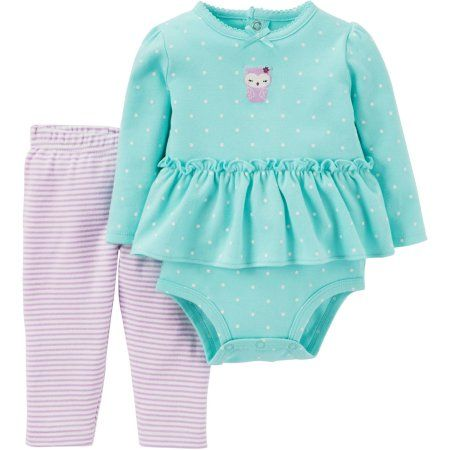 7e92cea21b Child of Mine by Carter s Newborn Baby Girl Ruffle Bodysuit and Pant Outfit  Set - Walmart.com