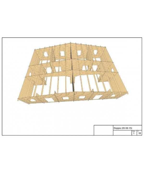 Dimensioni (larghezza x lunghezza) 12000 x 8000 millimetri Spessore parete 44 millimetri Altezza parete 2.470 millimetri Pendenza del tetto (gradi altezza + complessiva casa) 10 °, 3.506 millimetri Tetto spessore 20 millimetri Piano spessore 20 millimetri Dimensioni e quantità trave del tetto di 70 x 140 mm, 13 pz Sbalzo anteriore 200 millimetri Area tetto 102.4 m2 Finestre e porte di qualità, in legno lamellare con doppio vetro Finestre e porte dimensioni e 710x1260 quantità (x8), 900x2000…