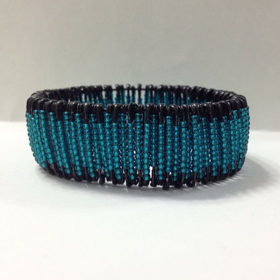 Safety Pin Bracelet Black Safety Pins with Teal by AuntieDooDahs, $15.00