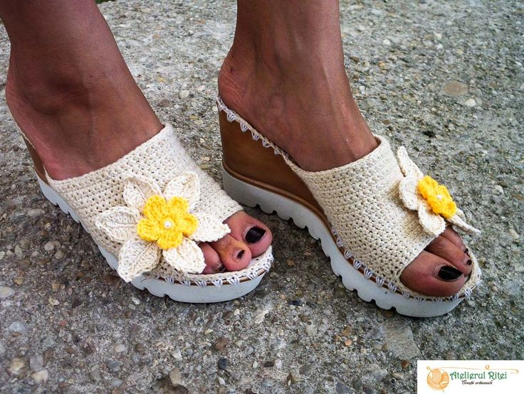 Handmade summer sandals with sunflower pattern