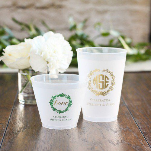 Personalized Frosted Plastic Cups by Beau-coup: may need for open bar wine and cocktails