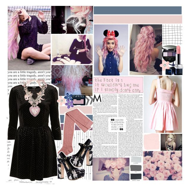 """We Were Dancing All Night"" by elaine-elizabethxo ❤ liked on Polyvore featuring Tarina Tarantino, Miu Miu, NARS Cosmetics, Sensai, Martha Stewart, Christian Dior, statement necklaces, platform heels, velvet dress and over the knee socks"