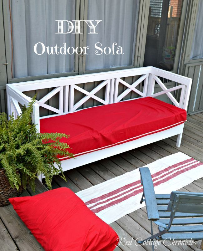 With the sky high prices of out door furniture, sometimes you just have to take matters into your own hands!  This DIY Outdoor Sofa cost us just under $150 to complete (cushion included!) - redcottagechronicles.com