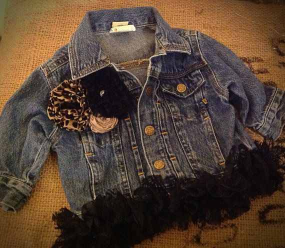 Girl's Denim Jacket with Vintage Lace, Leopard Print Flowers and a Rolled Satin Flower on Etsy, $32.00