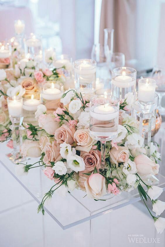 Wedding Centerpieces Pink With Spring Flowers And Roses Candles Love Theory