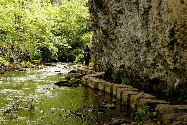 Stepping Stones in Chee Dale on the River Wye near Buxton by muffinn, via Flickr