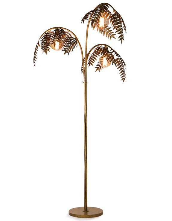 Antique Gold Palm Leaf Floor Lamp | Map