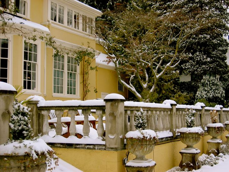 Snow softens the balustrades