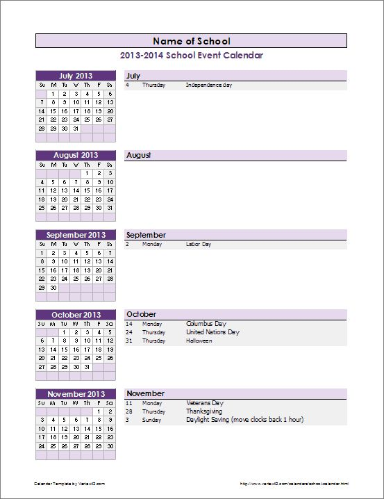Calendar Of Events Templates  NinjaTurtletechrepairsCo