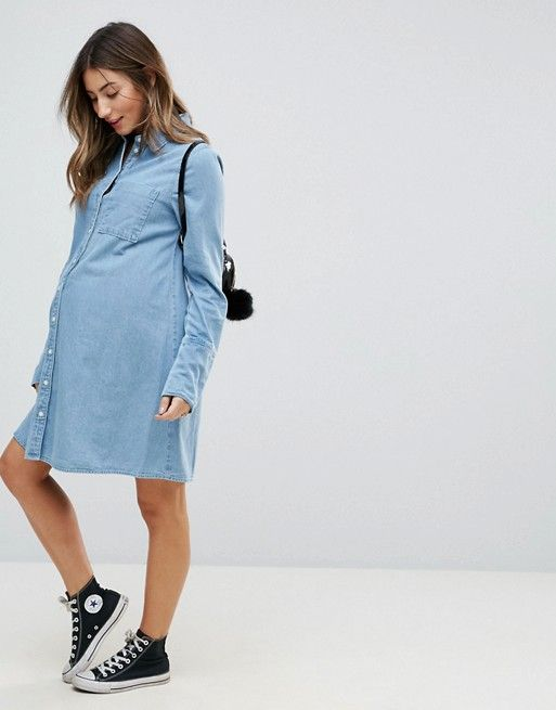 0b172b2105 DESIGN Maternity denim shirt dress with deep cuff detail in midwash ...