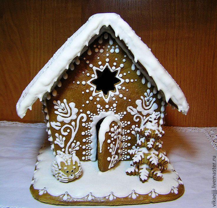 Новый год 2015 ручной работы. Ярмарка Мастеров - ручная работа Сказочный зимний пряничный домик (большой). Handmade.