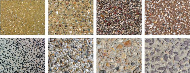Ukázky vymývaného betonu