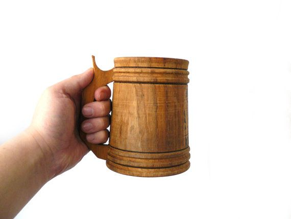 #Vintage Wooden Beer Mug, Wood stein Handmade beer stein Large Wood mug, gift for him, Bar Accessories,   Mug carved from a single piece of wood, thanks to this has a beauti... #vintage #etsy #soviet #nostalgishop #kitchendecor
