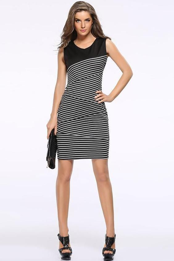 1302789128a1 Elegant Women Summer V Neck stripe Stitching Pencil Party Dress #life #cute  #lookoftheday