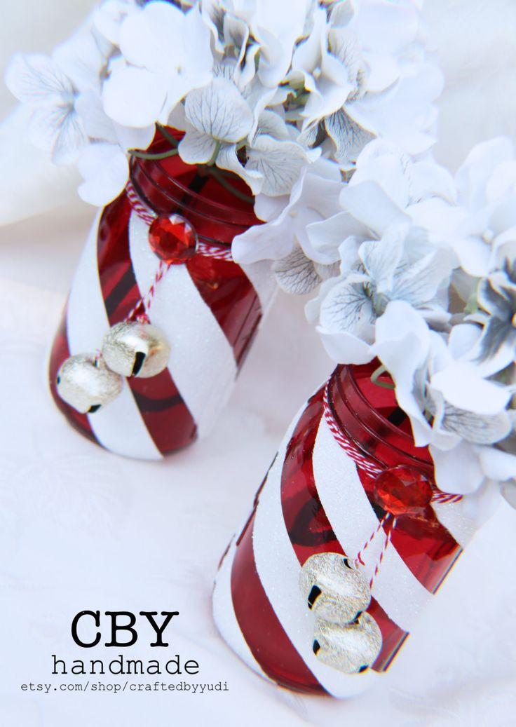 holiday party decorations , Glitter Mason Jar, candy cane centerpiece by CraftedByYudi on Etsy