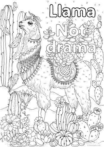 Llama Not Drama Printable Adult Coloring Pages Animal