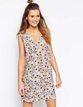 ASOS AFRICA Shift Dress in Pink Pansy Print