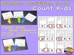 Early Maths Centre Activity COUNTING NUMBERS 0-10 COUNTING using STICK KIDS Teaching Resources - TES