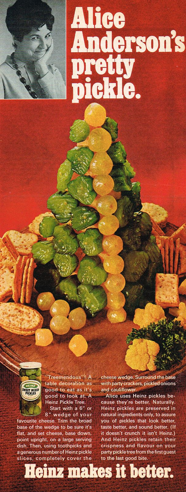 is like uhhhh i didnt make it my 6 year old ran out of construction paper whoops heinz pickle tree a festive centerpiece for your christmas buffet - Buffet Retro Cuisine