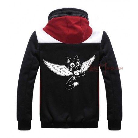 Sudadera de invierno roja, negra y blanca de Happy de Fairy Tail