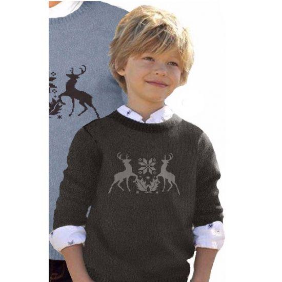 Foute print kinder truien met rendieren  Zwarte kinder kersttrui met rendieren. Zwarte nette kersttrui met afbeelding van rendieren. De kersttrui is gemaakt van 100% acryl.  EUR 26.95  Meer informatie