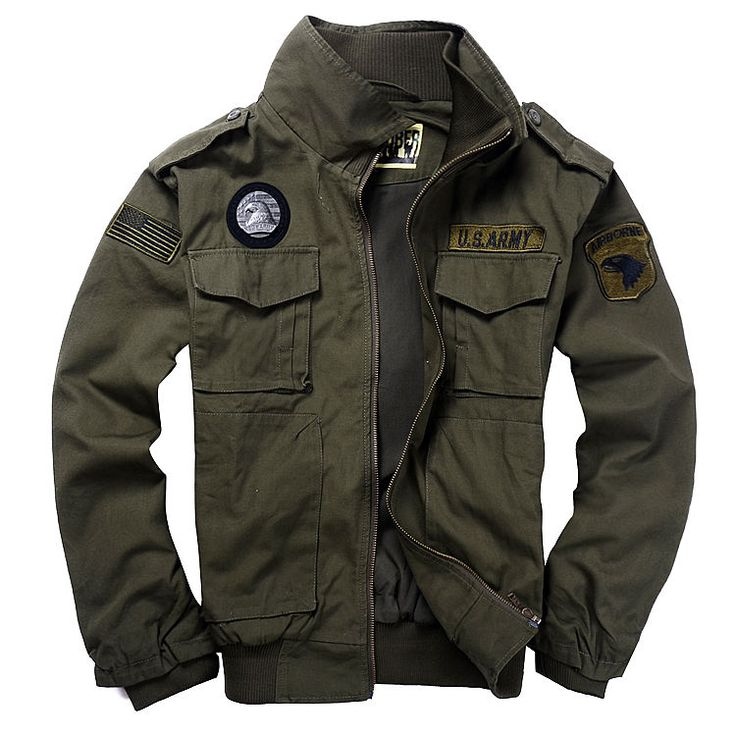New Men's USA Army Air Force Military Jacket Collar Bomber Coat Outwear Green #JACKET #BasicJacket