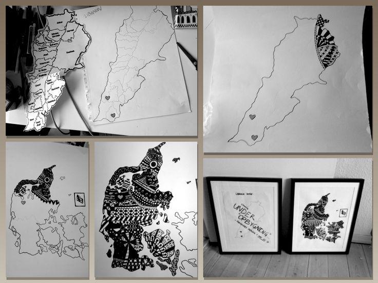 Zendoodle tegning ar Danmarkskort og Lebanonskort. En bryllupsgave til et brudepar fra Lebanon som idag bor i danmark. Hjerterne er symboler på deres hjem. Lavet med sorte poscatusser.