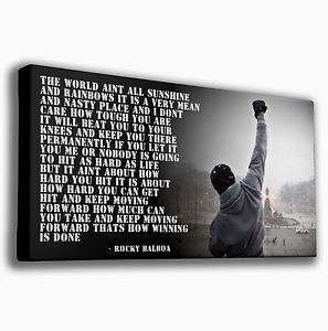 Rocky Balboa Quotes | ROCKY BALBOA QUOTE BOXING - PREMIUM LARGE GICLEE CANVAS ART |