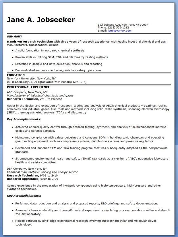 resume for laboratory technician