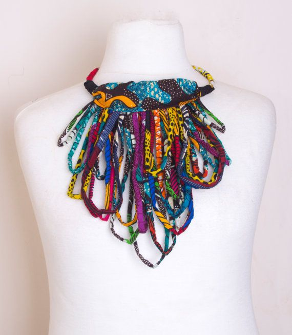 african tribal fringe statement necklace by houseofola on etsy african