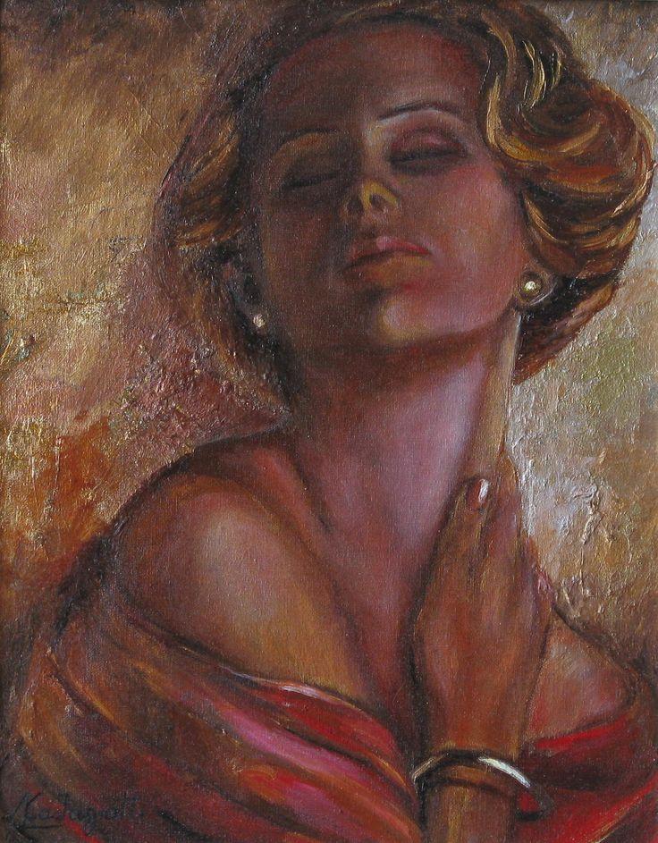 """""""Donna in rosso"""" olio su foglia d'oro (24 x 30)"""