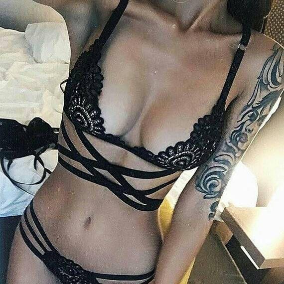 ONSALE bralette negro conjunto lenceria encaje conjunto