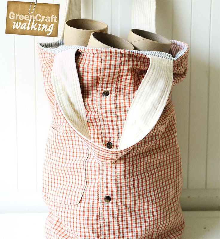 An upcycled button-down makes for the perfect market bag, like Julie Kundi's pictured here.