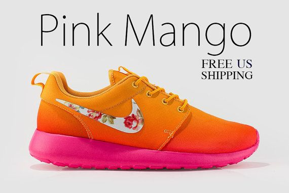 luv it!   Floral Nike Roshe Run Atomic Mango and Pink Glow Nike by MindysLab, $160.00