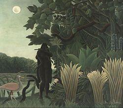 La encantadora de serpientes (en francés, La Charmeuse de serpents) es una pintura al óleo sobre lienzo realizada en 1891 por el pintor francés Henri Rousseau. Sus dimensiones son de 169 × 189,5 cm.  La pintura muestra un paisaje exótico e irreal de compleja estructura, iluminado por una luz fría que se refleja en el agua, resaltando las figuras inmóviles y planas1 Para su realización, Rousseau, se inspiró en un grabado sobre madera de Paul Gaugin expuesto en 1906.1  Se expone en el Museo de…