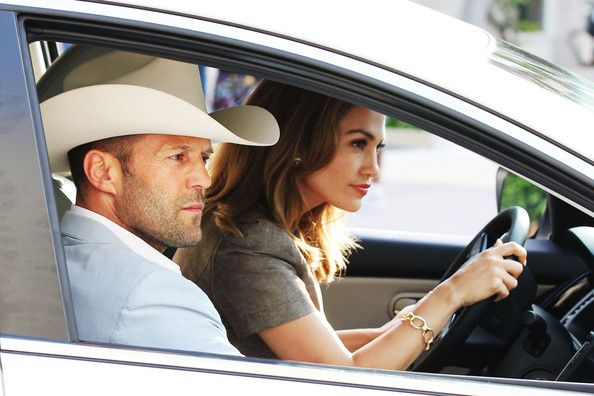 """Jennifer Lopez and Jason Statham Photos: Busy mom Jennifer Lopez enjoys her """"Parker"""" co-star, Jason Statham's, company as they film a driving scene for their upcoming film in Miami"""