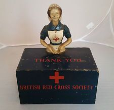 WW1 WW2 British Red Cross Collection Box - Wounded Soldiers - not tinplate