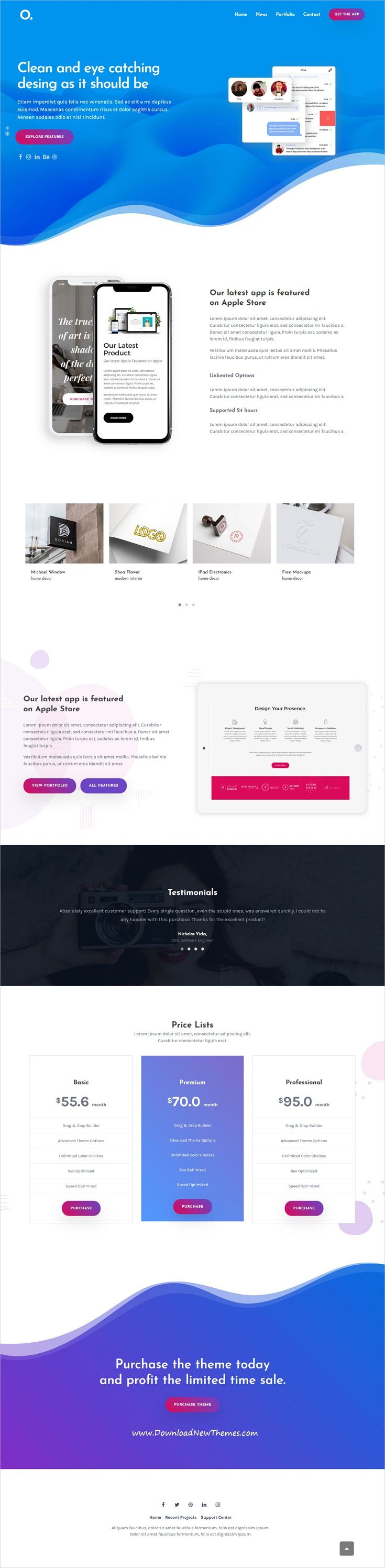 Onero is clean, stylish and modern design #responsive multipurpose WordPress #template for creative #agency beautiful #website with 27 niche homepage layouts to live preview & download click on image or Visit