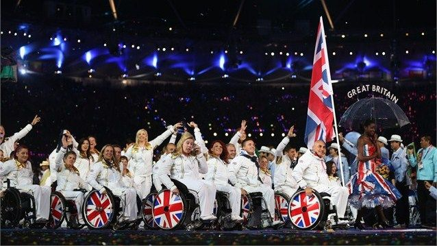 """and as the hosts Great Britain (GBR) entered the stadium to the strains of """"Heroes"""" by David Bowie"""