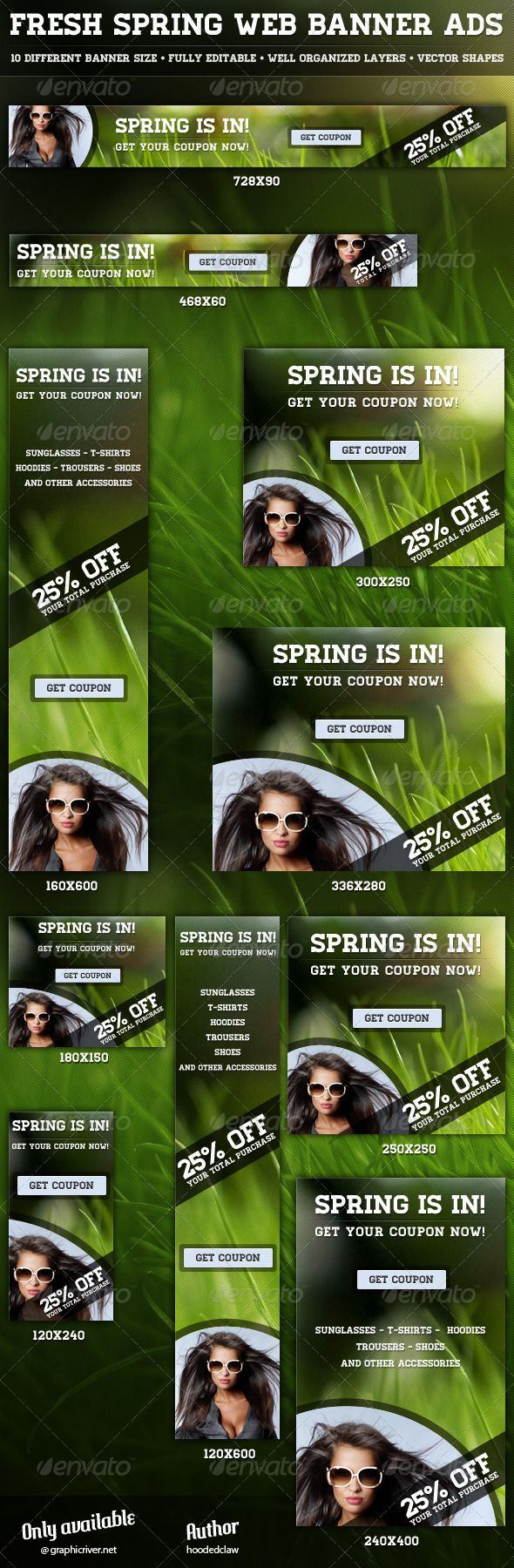 Fresh Spring Web Banner Ads Template PSD | Buy and Download: http://graphicriver.net/item/fresh-spring-web-banner-ads/4166630?WT.ac=category_thumb&WT.z_author=hoodedclaw&ref=ksioks