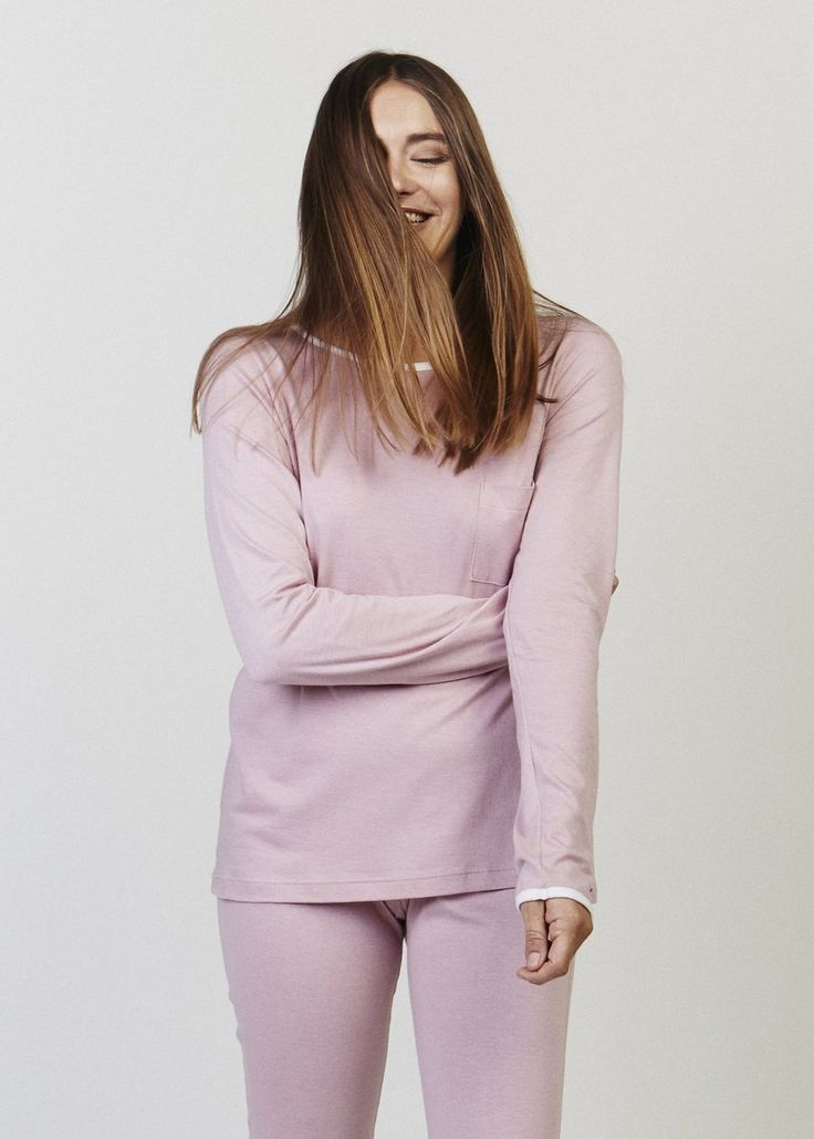 Jane Long Sleeve Relaxed Pajama T-shirt. Jane short tee but longer. This is a long sleeve, relaxed pyjama sweat top with a crew neckline.