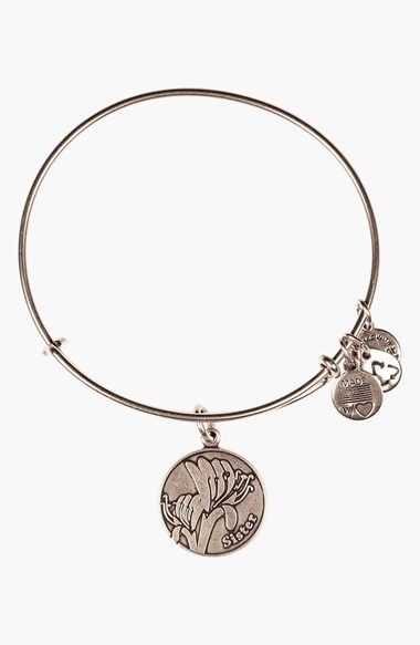 Free shipping and returns on Alex and Ani 'Sister' Expandable Wire Bangle at Nordstrom.com. Representing forever and irreplaceable friends, dainty charms celebrate being a sister on an easily expandable bangle. Sisters possess an eternal connection, a forever friendship that can take on the world. Strong in good times and in bad, the honeysuckle consistently creates a sweet disposition to all those surrounded with it. A symbol of strength, adorn yourself with this charm bracelet to show…