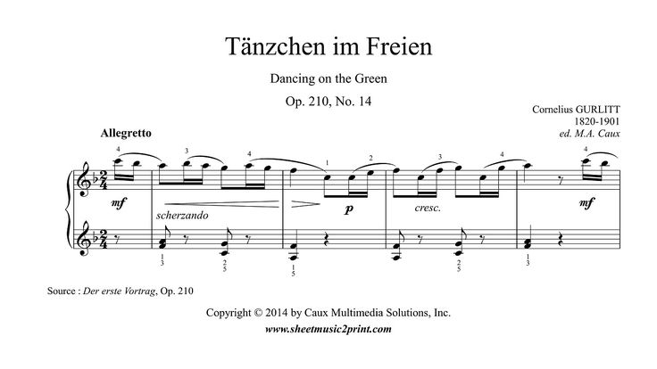 Gurlitt : Dancing on the Green, Op. 210, No. 14 http://www.sheetmusic2print.com/Gurlitt/Dancing-Green-210-14.aspx