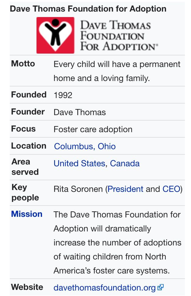 Dave Thomas Foundation for Adoption  Copy & Paste following link for more information https://en.m.wikipedia.org/wiki/Dave_Thomas_Foundation_for_Adoption